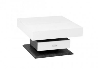 ROTATING COFFEE TABLE W LIFT TOP & STORAGE DRAWER WHITE-GREY brassex