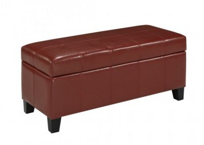 2006S-RD STORAGE OTTOMAN RED brassex
